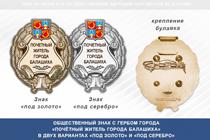 Общественный знак «Почётный житель города Балашихи Московской области»