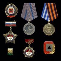 Комплект из 7 медалей и знаков «Геральдика Челябинской области»