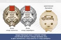 Общественный знак «Почётный житель города Великих Лук Псковской области»