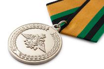 Медаль «За службу в железнодорожных войсках» с бланком удостоверения