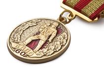 Медаль «60 лет Всероссийскому добровольному пожарному обществу (ВДПО)» с бланком удостоверения