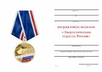 Удостоверение к награде Медаль «За многолетний добросовестный труд в энергетической отрасли России» с бланком удостоверения
