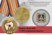 Медаль «30 лет ГУ МЧС России по Брянской области» с бланком удостоверения