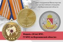 Медаль «30 лет ГУ МЧС России по Воронежской области» с бланком удостоверения