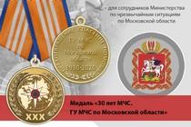 Медаль «30 лет ГУ МЧС России по Московской области» с бланком удостоверения