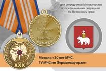 Медаль «30 лет ГУ МЧС России по Пермскому краю» с бланком удостоверения