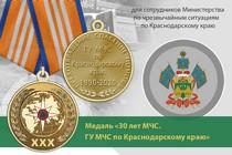 Медаль «30 лет ГУ МЧС России по Краснодарскому краю» с бланком удостоверения