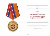 Удостоверение к награде Медаль «75 лет специальным подразделениям ФПС» с бланком удостоверения