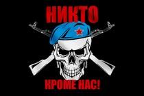 Флаг ВДВ с черепом и автоматами