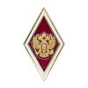 Академический нагрудный знак (ромб) «Об окончании университета», красный