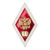 Академический нагрудный знак (ромб) «Об окончании юридического ВУЗа», вар. 2 с накладным гербом