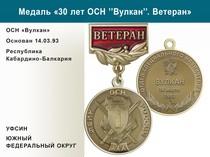 """Медаль «30 лет ОСН """"Вулкан"""" УФСИН РФ» с бланком удостоверения"""