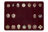 Удостоверение к награде Планшет под знаки на винтовой закрутке, 35 ячеек (48х48)мм бордовый