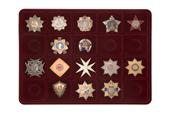 Удостоверение к награде Планшет под ордена, 20 ячеек (68х68)мм бордовый