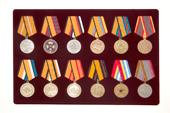 Удостоверение к награде Планшет под медали диаметром 32 мм, 12 ячеек
